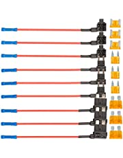 3 Type 12V Car Add-a-circuit Fuse TAP Adapter & Fuse Kit,9 Pack Blade Fuse Holder 16 Gauge with ATM Standard Mini and Low Profile Blade Fuse for Car Truck Boat