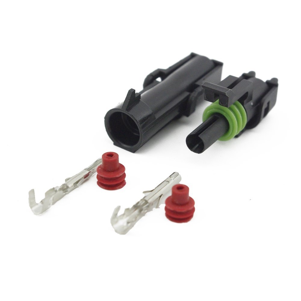 HUICAO 10 Kit 1 Pin Way Waterproof Connector 20-14 AWG Electrical Connector Harness Terminal