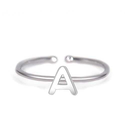 a4f3371c80720 espere Rhohdium Plated Sterling Silver 925 Stackable Initial Ring Alphabet  Letter Knuckle Rings Open Size Ajustable