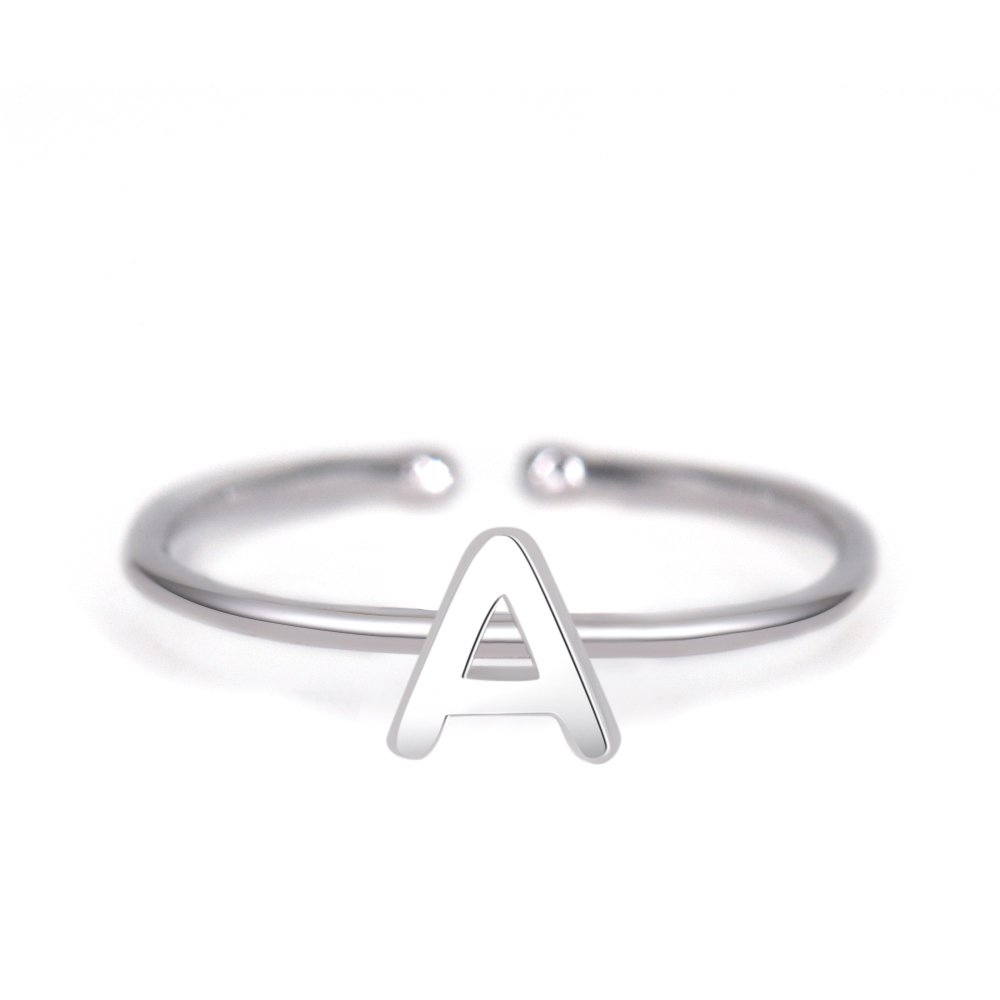 Rhohdium Plated Sterling Silver 925 Stackable Initial Ring Alphabet Letter Knuckle Rings Open Size Ajustable Bridesmaid Personalized by espere (Image #1)