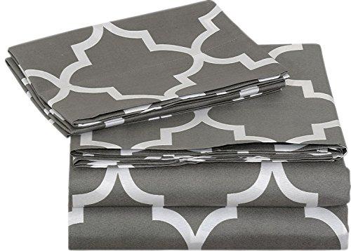 Bed-Sheet-Set-4-Pieces-Grey-Blue-1-Flat-Sheet-1-Fitted-Sheet-2-Pillow-Cases