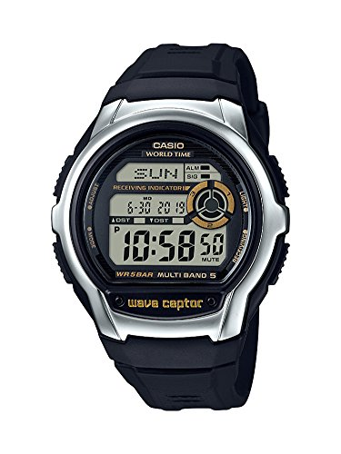 Casio Men's ' Wave Cepto Quartz Stainless Steel and Resin Watch, Color:Black (Model: WV-M60-9ACF