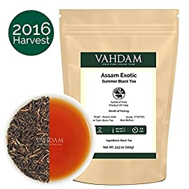 VAHDAM, Assam Tea Leaves with Golden Tips, 3.53 Oz (50 Cups) - Strong, Malty & Rich - Exotic Assam Tea Loose Leaf - 100% Certified Pure Assam Black Tea - English Breakfast Tea 88 EXCLUSIVE QUALITY - Premium Black Tea with a Full Body, Rich Aroma & Delightful Malty Flavor. A robust, full-body Indian Tea which delivers a smooth and rich flavor profile. Characteristic of well made leaves with golden tips sprinkled all over. This black tea loose leaf can be served as hot tea, iced tea or latte with a dash of milk and sugar. These black tea leaves also make for an excellent Kombucha tea. Vadham DELICIOUS TASTE - Assam Milk Tea can be served with or without Milk, Hot or as Iced Tea. Assam loose tea is a perfect Breakfast Tea & Afternoon Tea. A BRAND WITH A BILLION DREAMS - Established in India by a 26-year-old, 4th generation Tea entrepreneur, Vahdam Teas is an award-winning, vertically integrated tea brand that door delivers the world's freshest tea leaves to over 83 countries, sourced directly from India's choicest tea gardens. The tea industry is one of the largest employers of manual labor in India. A successful home-grown brand helps empower millions of these tea workers in the long run.