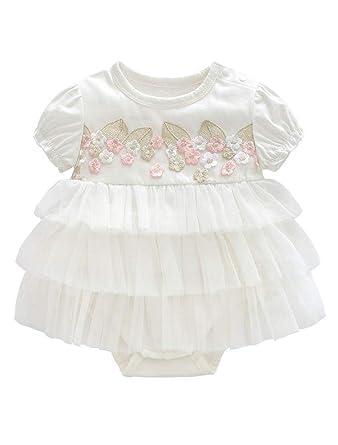 ARAUS Bebé Vestido con Gradas Niñas Falda Acodada Mameluco Manga ...