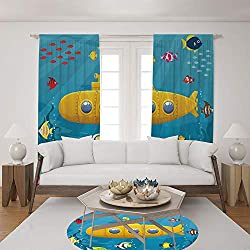 2 Panel Set Satin Window Drapes Living Room Curtains and Round Rug 35.4 inches,Colorful Fish Ocean Life Marine Creatures Tropic,The perfect combination of curtains and Round Rug makes your living room