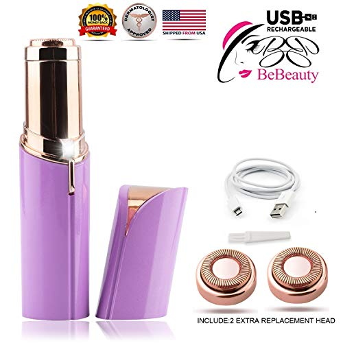 BeBeauty Rechargeable Women's Painless Facial Hair Remover, Electric USB Battery. 18K Gold-Plated
