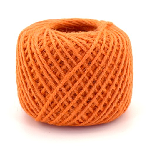 BambooMN 75 Yard, 2mm Crafty Jute Twine Thread Cord String Hemp Jute for Artworks, DIY Crafts, Gift Wrapping, Picture Display and Gardening, 3 Balls Orange (Hemp Orange)