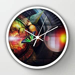 "Timex Universal Indoor/Outdoor Clock Butterfly Portal White Round Frames Wall Clock Art Design Watch Wall 10"" Diameter Digital Wall Clocks"