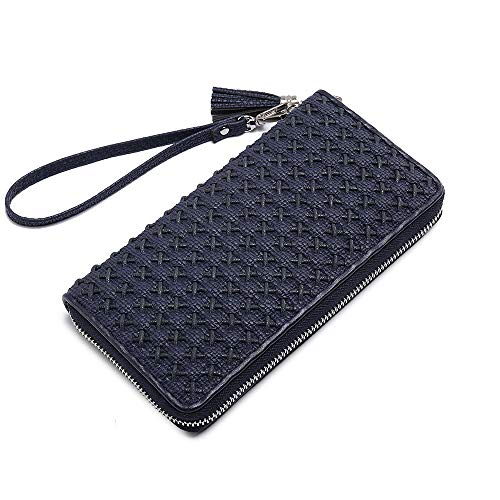 Women Large Capacity Wallet Multi Card Organizer hand-woven Clutch Long Purse Wristlet Bags with wrist strap and tassel zipper around Blue