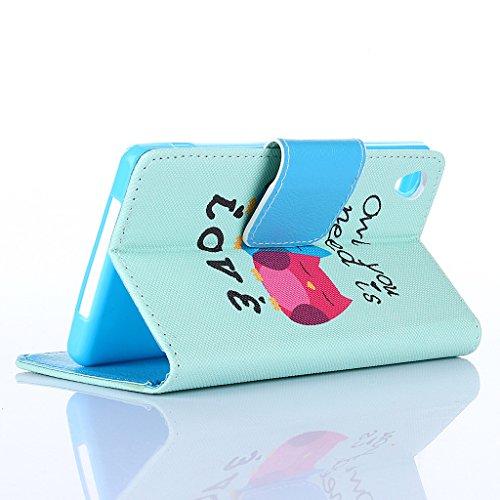 Qimmortal - Funda tipo cartera para Samsung Galaxy S7, piel sintética, diseño colorido, función atril plegable magnética, con tarjetero, incluye protector de pantalla de cristal templado, piel sintéti Owl and love letter