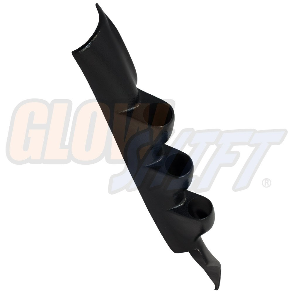 GlowShift Black Triple Pillar Gauge Pod for 1993-2002 Pontiac Trans Am T-Top - ABS Plastic - Mounts (3) 2-1/16'' (52mm) Gauges to Vehicle's A-Pillar