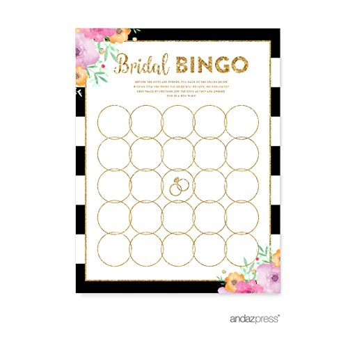 Andaz Press Floral Gold Glitter Print Wedding Collection, Bridal Shower Bingo Game Cards, (Personalized Bingo Games)