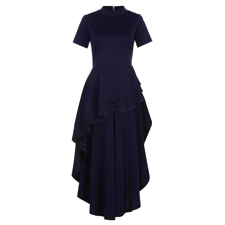 Malloom® Frauen Kurzarm High Low Schößchen Kleid Bodycon Casual ...