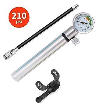 Leezo - Bomba pequeña para Bicicleta con medidor Presta y válvula ...
