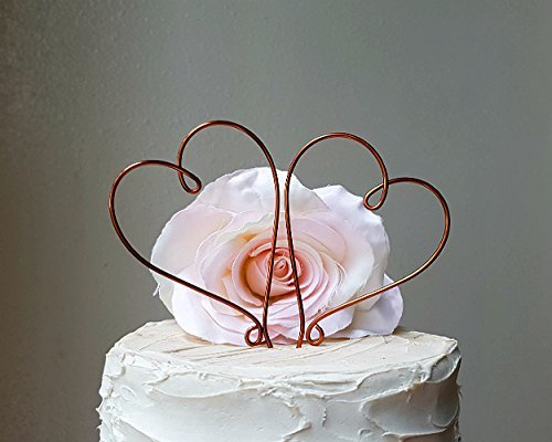 2-hearts-wedding-cake-topper-in-oxidized-copper-wire-finish-wedding-cake-decoration-by-antoarts