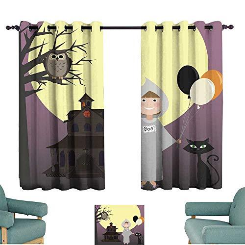 Warm Family Sliding Curtains Halloween Scene Set of
