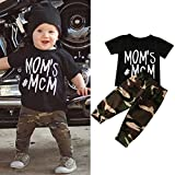 Ec Newborn Baby Boy Letter O Neck T shirt Tops Camouflage Pant Outfits Clothes Set