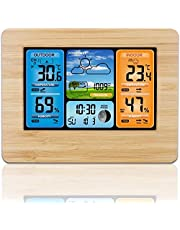 Wireless Weather Station Indoor Outdoor Thermometer, Home Digital Wireless Color Forecast Station Temperature and Humidity Monitor Alerts, Barometer