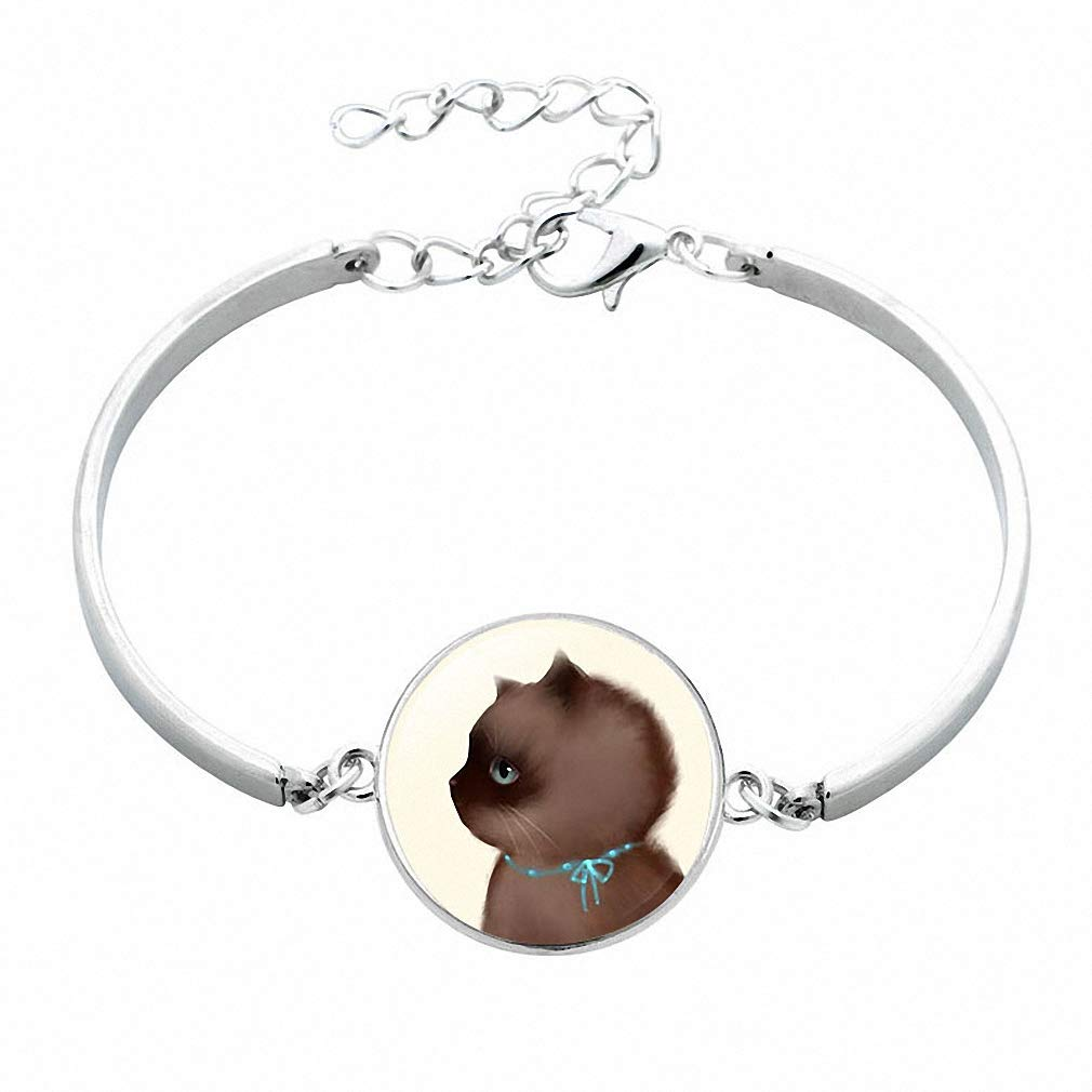 Giwotu Womens Cute Cat Silver Color Jewelry Classic Glass Cabochon Statement Bracelet Simple Style Bangle for Women Kids 12016203