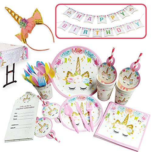 Unicorn Party Supplies & Decorations, Serves 16 - Disposable Tableware Set with Unicorn Plates/Straws/Cups/Knives/Spoons/Forks/Happy Birthday Banner/Unicorn Headband, 147pcs