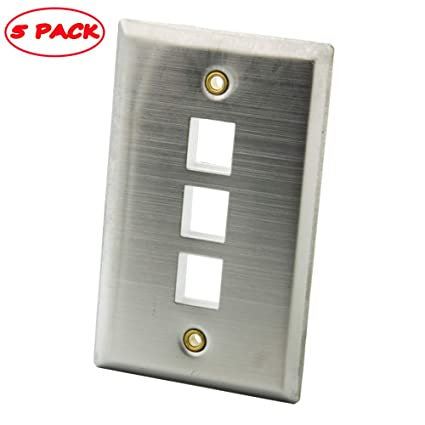 YinXiong Stainless Steel Metal Solid Style Keystone Empty Wall Plate (5  PACK, 3 Ports)