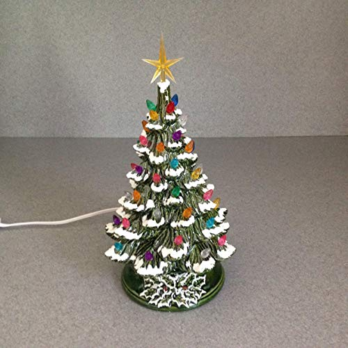 Ceramic Christmas Tree With Snow.Christmas Decoration Vintage Style Ceramic Christmas Tree 11 Inches Tall A Holiday Lighted Decoration Green Glaze Snow And Yellow Star