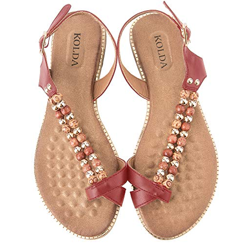 KOLDA Women's Sandals T-Strap Beaded Flat Softbed Memory Foam Comfy Shoes for Womens Ladies Red -