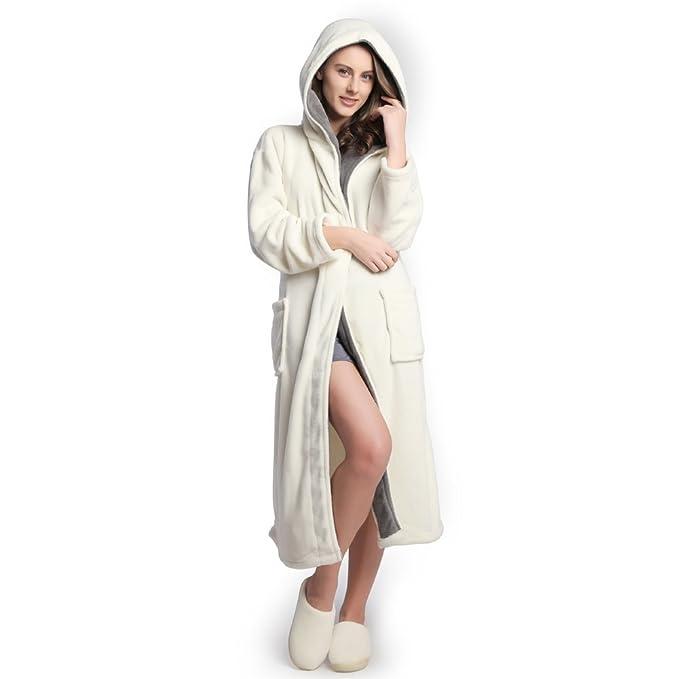 COSMOZ Microfibra Bata Albornoz de Forro Polar Grueso para Mujer Capucha: Amazon.es: Ropa y accesorios