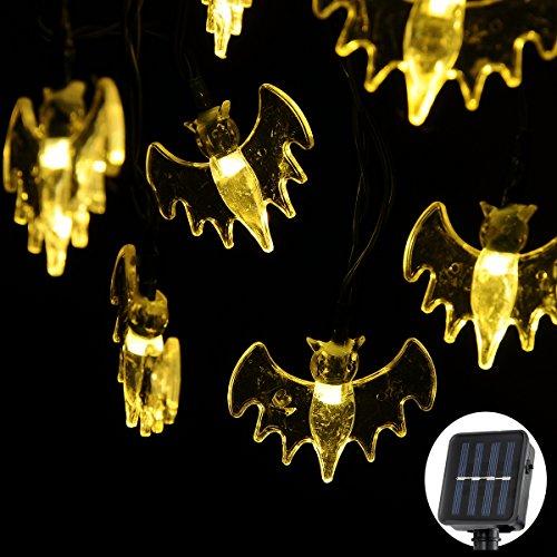Solar Bat (Solar String Lights, 20ft 30 LED Bat Lights String for Patio Garden Gate, Yard, Parties Fairy String Lights Christmas Decoration Outdoor (Warm White))