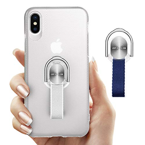 iPhone Xs Max Case with Finger Strap & Ring Stand Holder, White Hard Thin Cover with Blue & Gray Loop Grips for Apple iPhone Xs Max, Works with Magnetic Mount & Wireless Charger