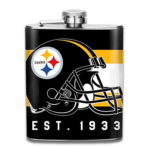 Aoskin Pittsburgh Steelers Portable Stainless Steel 7oz Hip Flask Flagon Whiskey Wine Pot Bottle