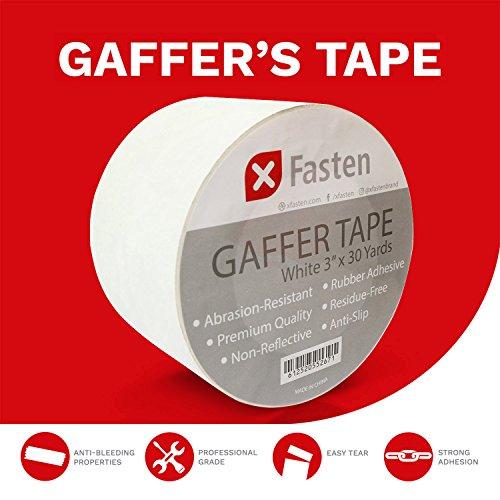 "XFasten Professional Grade Gaffer Tape, 3""x30yds (White)"