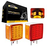 Partsam 2x Truck Trailer Square Double Face Pedestal Stop Turn Tail Light Amber/Red 39 LED for Peterbilt Freightliner Kenworth Mack Western Star