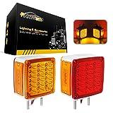 led 39 - Partsam 2x Truck Trailer Square Double Face Pedestal Stop Turn Tail Light Amber/Red 39 LED for Peterbilt Freightliner Kenworth Mack Western Star