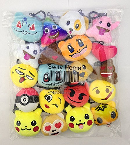 Swity Home 36 Pack Mini Emoji Plush Toy, Emoticon Toy, Mini Keychain Decorations, For Party Decoration, Party Supplies Favors, Set of 36 by Swity Home (Image #3)