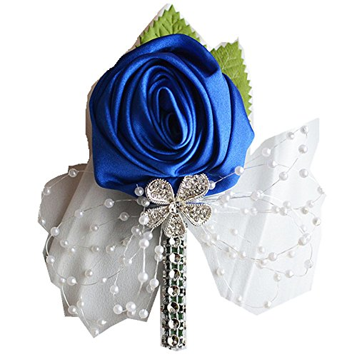 (Silk Rose Boutonniere Pin Corsage Brooch For Wedding Prom Party Dress Accessories)