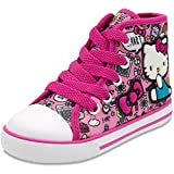 Hello Kitty Lil Avery Lace Up Fashion Sneaker with Embroidered Logo Pink