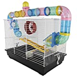 PawHut Hamster Cage Small Animals Habitat Play Exercise Center with 2 Level Mice Gerbil Heaven Tube Spinning Wheel Feeder Ladder