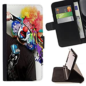 - Clown Evil Joker - - Premium PU Leather Wallet Case with Card Slots, Cash Compartment and Detachable Wrist Strap FOR Samsung GALAXY ALPHA G850 SM-G850F G850Y G850M King case
