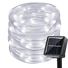 LAFEINA Solar Rope Lights, 39ft 100LED Tube String Lights Waterproof Fairy Lights Decorative Lights for Outdoor Indoor Garden Tree Patio Christmas Wedding (White)