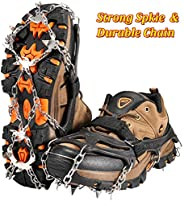 ZOTO Ice Traction Cleats, 19 Spikes Crampons for HikingBoots Shoe Ice and Snow Grips Anti-Slip Stainless Micro Spikes for H