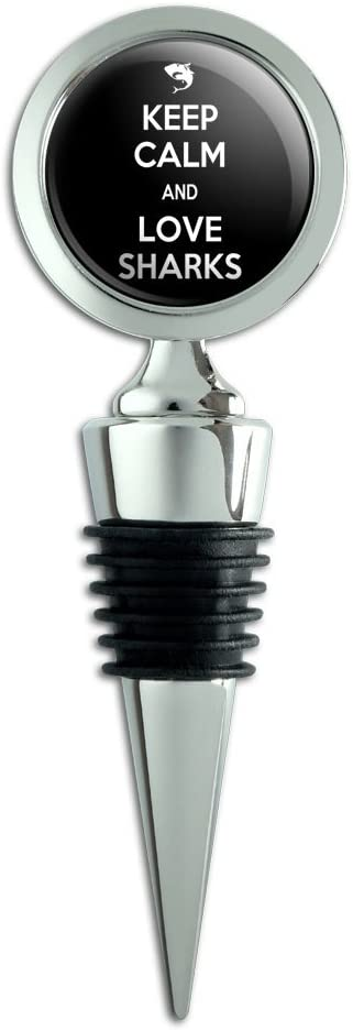 Keep Calm And Love Sharks Wine Bottle Stopper