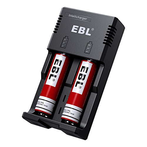 EBL Smart Rapid Battery Charger for Rechargeable 3.7V Li-ion Batteries 26650 21700 18650 17670 17500 14500 16340(RCR123), Ni-MH/Ni-Cd AA AAA C Batteries (Batteries Not Included)