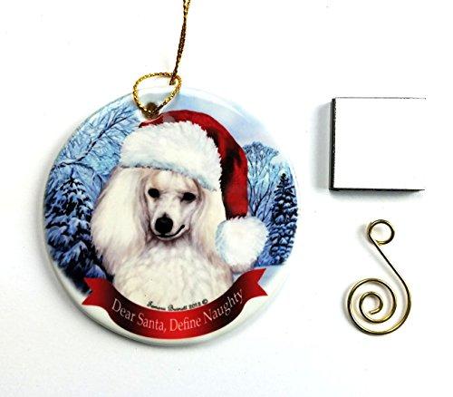 Poodle- White Christmas Ornament 3