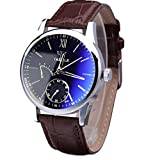 Changeshopping Luxury Fashion Faux Leather Mens Blue Ray Glass Quartz Analog Watches (brown)