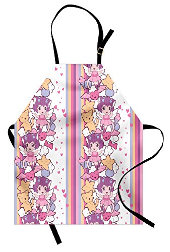 Ambesonne Doodle Apron, Illustration of Angels Stars and Cats Clouds with Mini Hearts Otaku Kawaii Japanese, Unisex Kitchen Bib Apron with Adjustable Neck for Cooking Baking Gardening, (Otaku House Costumes)