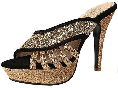 Mofri Women's Fashion Sequins Peep Toe Sandals - Studded Rivets Faux Suede - Pointy High Heels Platform Slide on Mules Shoes (Black, 4 B(M) US) by Mofri