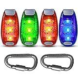 Pack de 4 luces LED de seguridad estroboscópicas para correr, caminar en bicicleta, perro, mascota, corredores, el mejor clip de advertencia intermitente en pequeño conjunto reflectante Flash Walk noche de alta visibilidad + Bonos gratis