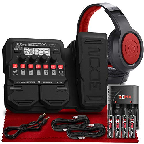 Zoom G1X Four Guitar Effects Processor with Built-In Expression Pedal + SR360 Over-Ear Dynamic Stereo Headphones, Xpix Rechargeable AA Batteries with Quick Travel Charger and Cable Accessories