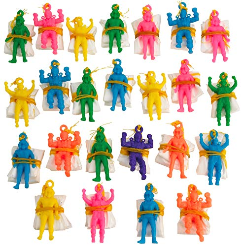Kicko Mini Vinyl Paratroopers - Pack of 24 - 1.75 Inches Assorted Colors Cool Airborne Action Figures - for Kids Great Party Favors, Bag Stuffers, Fun, Toy, Gift, Prize -